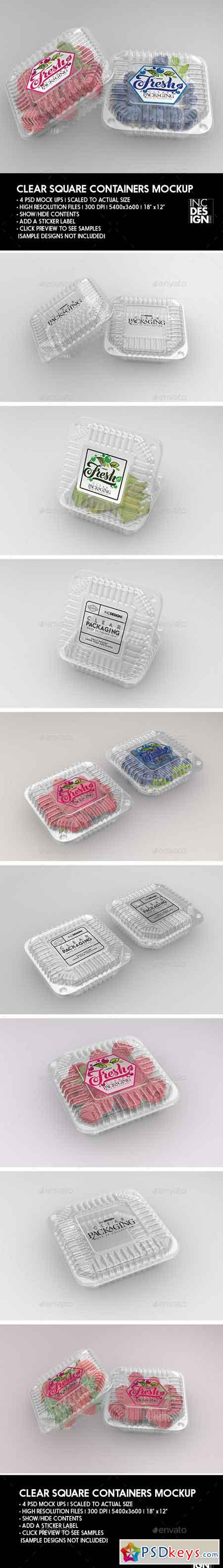 Clear Square Clamshell Food Container Packaging Mockup 22066960