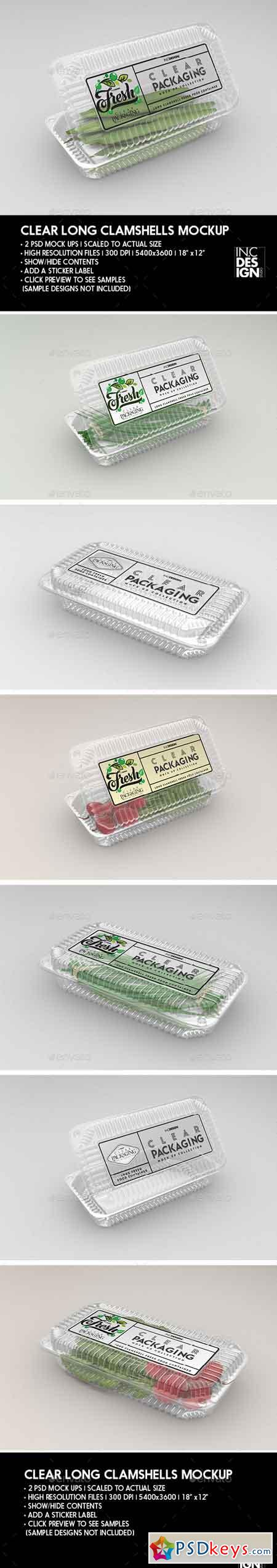 Clear Long Clamshell Packaging Mockup 22071931