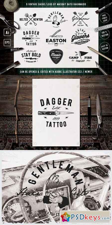 9 Hipster Vintage Badges 20492585