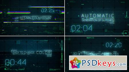 hi tech glitches countdown and titles after effects template