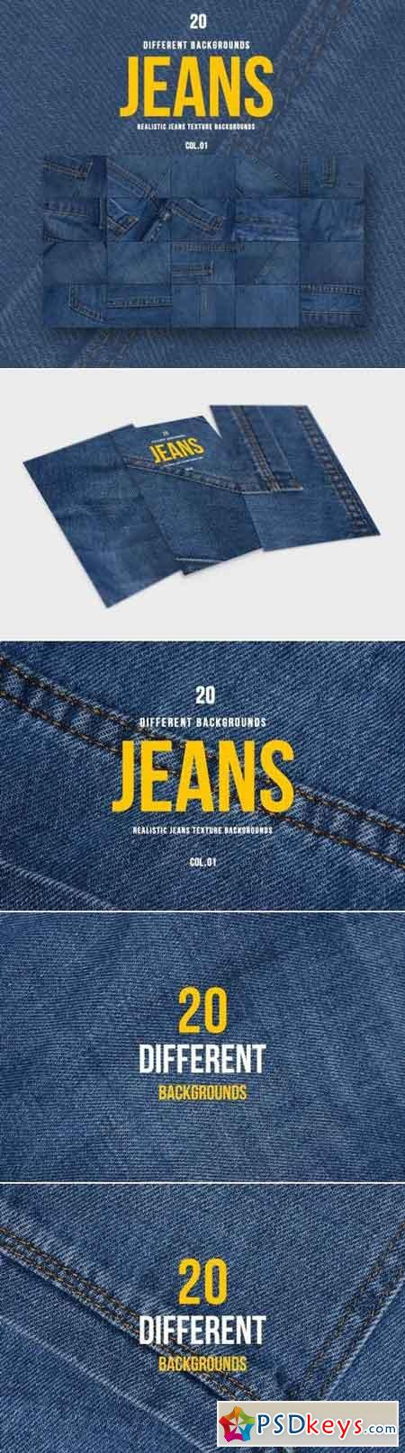 Realistic Jeans Texture Backgrounds COL.01