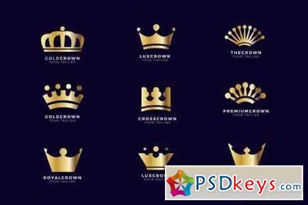 Luxury Golden Crown Logo Set