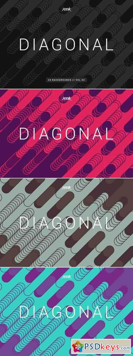 Diagonal Rounded Lines Backgrounds Vol. 03