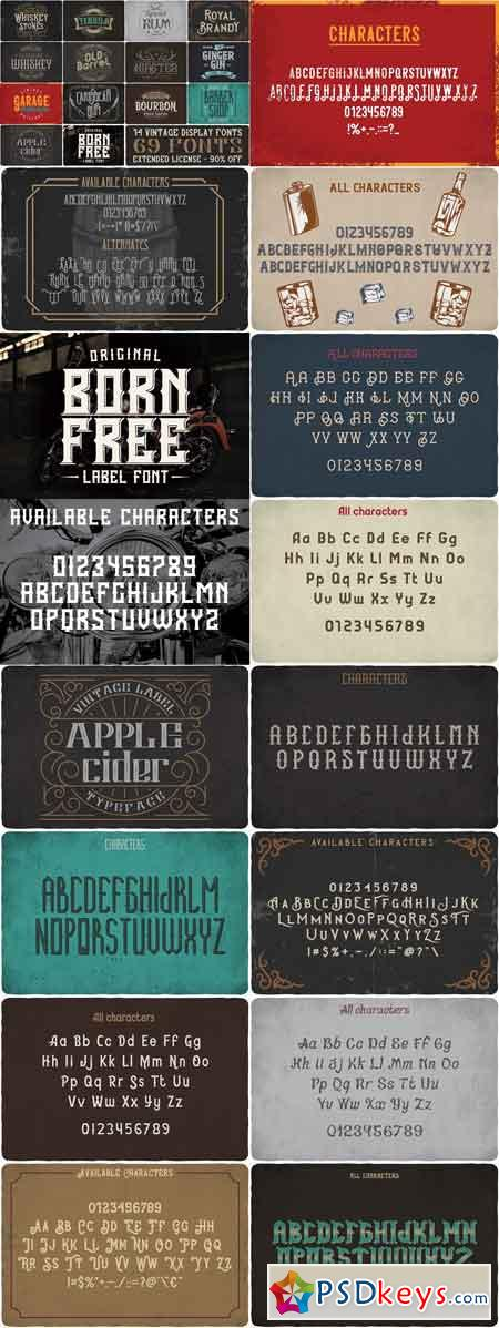 Vintage Fonts Bundle 2660448