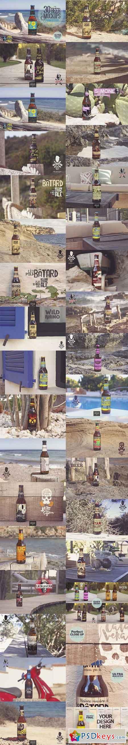 30 Beer Mockups in Formentera 2665727
