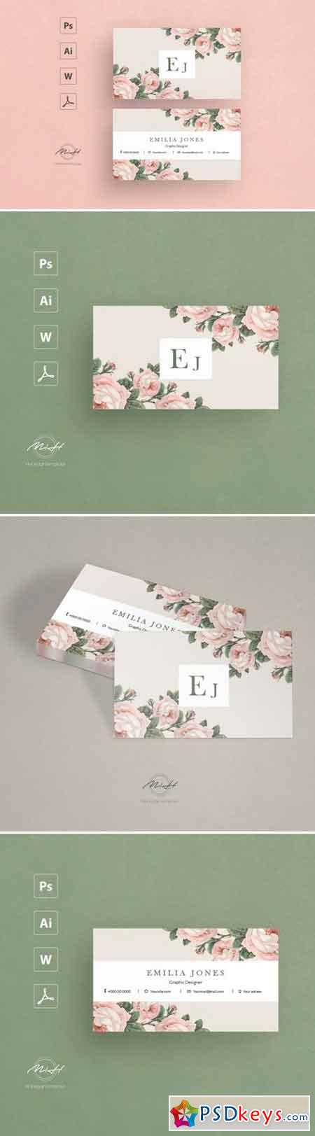 Roses business card template 2543415
