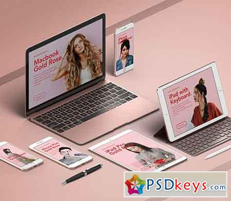 UI Rose Gold Psd Apple Devices Pack