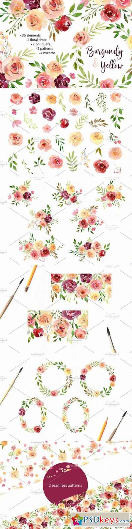 Watercolor Flowers Arrangements PNG 2583222