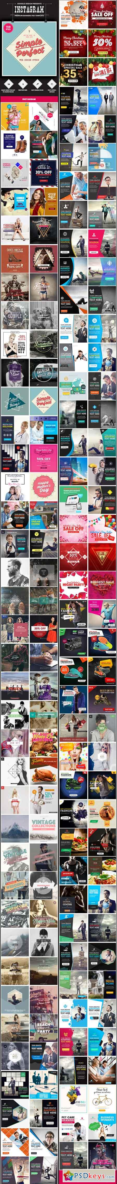 Promotion Instagram Banners Ads - 159 PSD Bundle 13686890