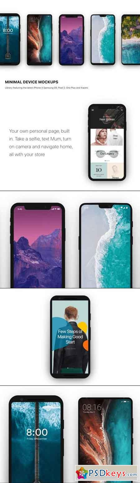 Minimal Mockup iPhone X, Samsung S9, and more