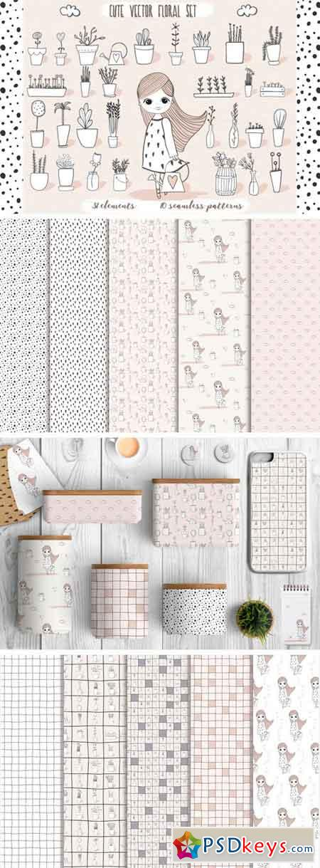 Cute Vector Pots and Patterns 16655