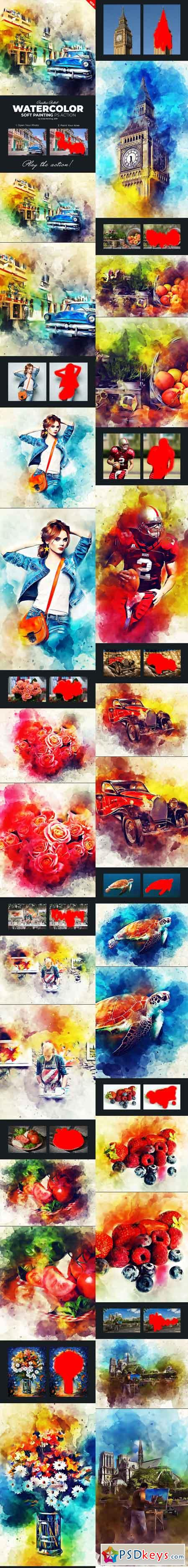 Watercolor Soft Painting Photoshop Action 22082612