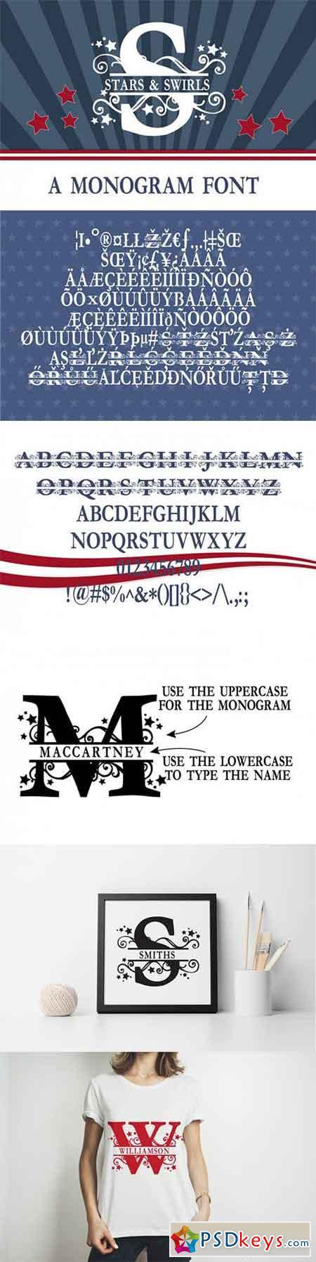 PN Stars & Swirls Monogram Banner Font 3463764