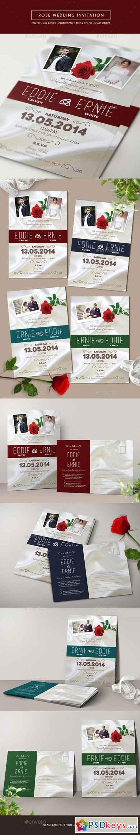 Rose Wedding Invitation & RSVP 15578474