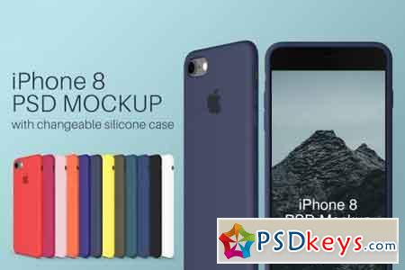 iPhone 8 PSD Mockup + Silicone Cases