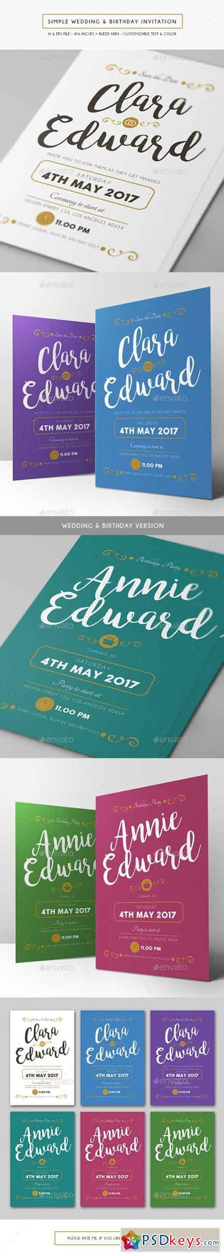 Simple Wedding & Birthday Invitation 15724115