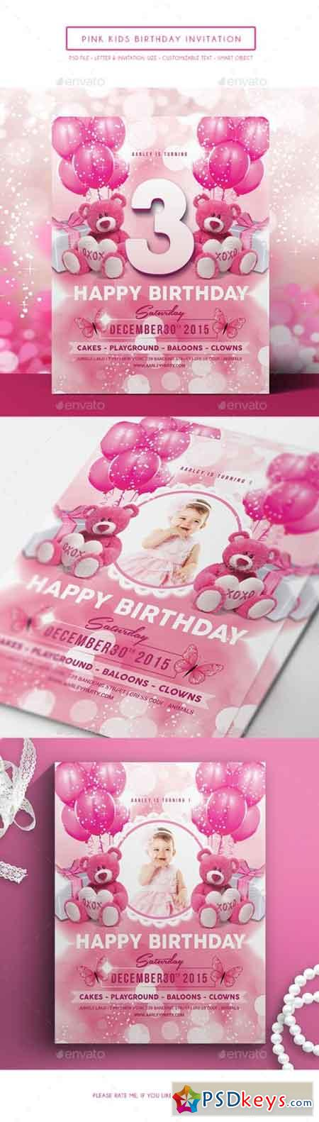 Pink Kids Birthday Invitation 14155317