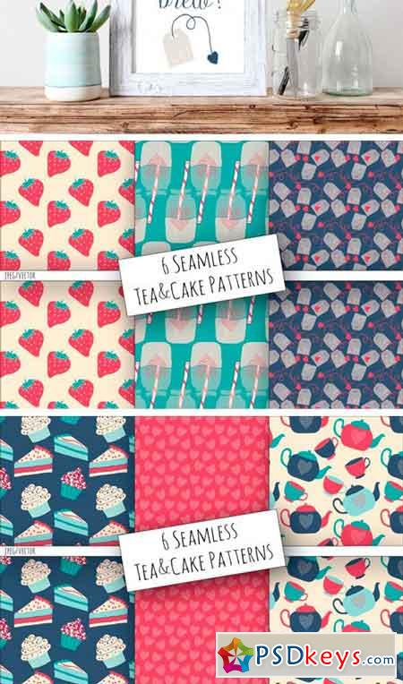 Tea & Cake Clipart and Seamless Pattern Collection 3449911