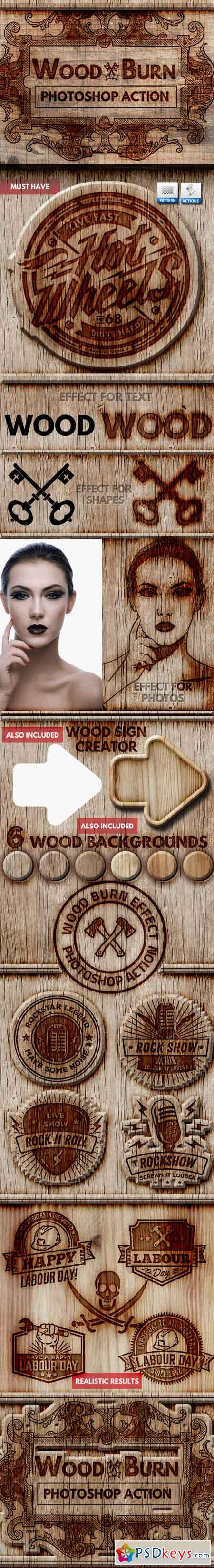 Wood Burn Effect Photoshop Action 22089411