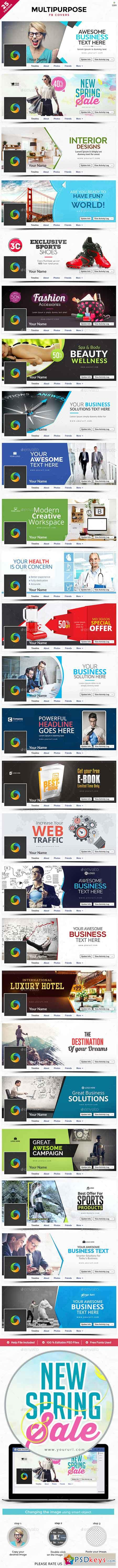 Multipurpose Facebook Cover Templates - 25 Designs 22106875