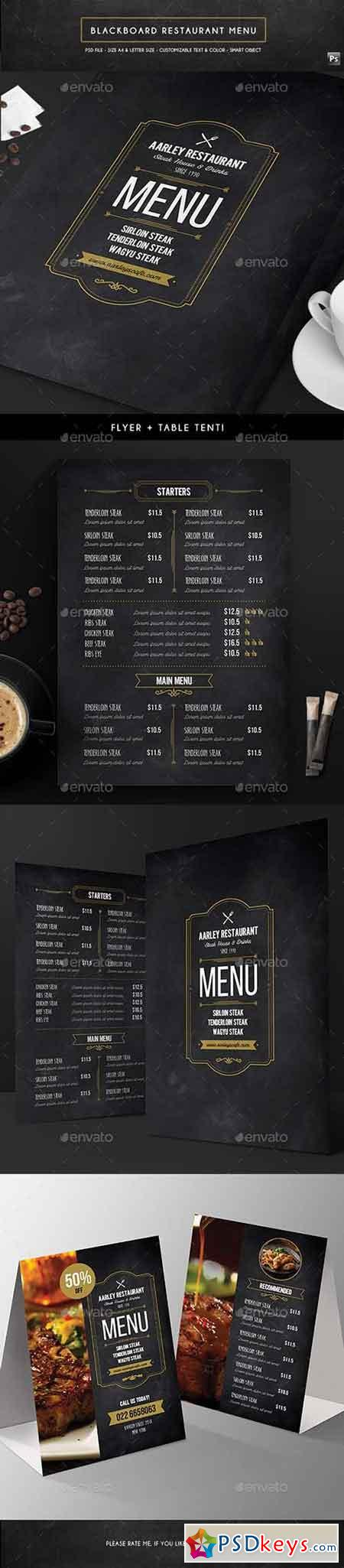 Blackboard Menu Flyer + Table Tent 16711712