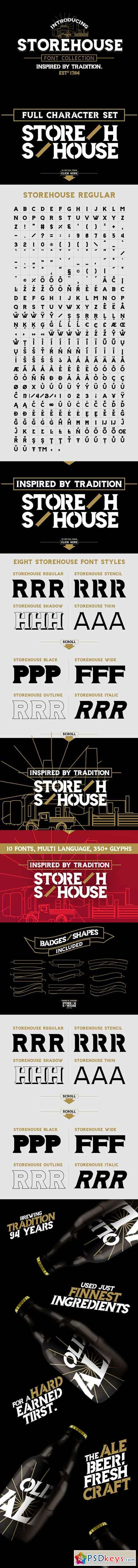 Storehouse Font + Vector shapes 2683495