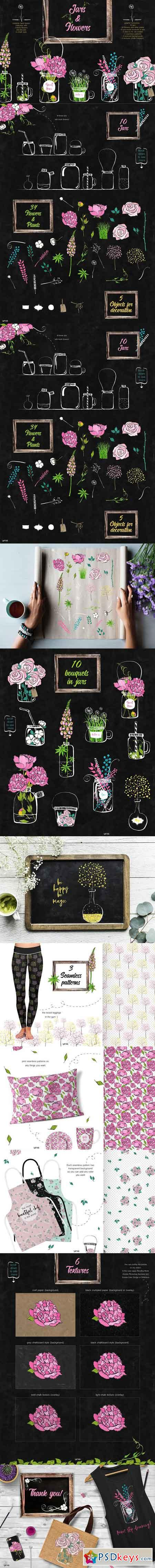 Flowers and jars clipart collection 2692627