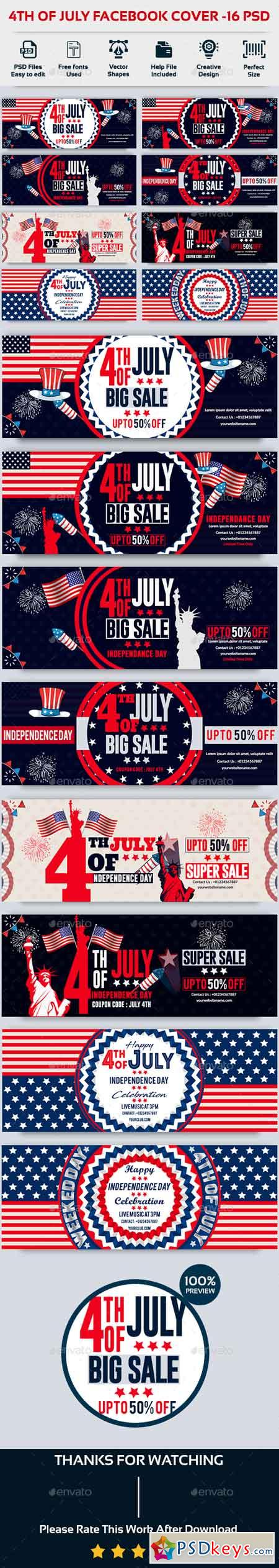 4th of July Facebook Cover-Bundle-16 PSD 22208538