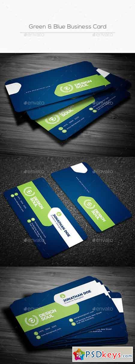 Green & Blue Business Card 22217003