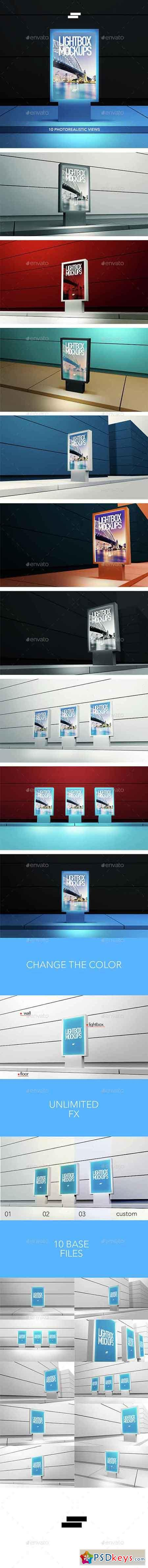 3D Lightbox Poster Outdoor Mock-ups 15128046