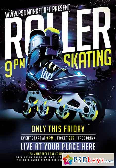 Roller Skating Party Flyer – PSD Template