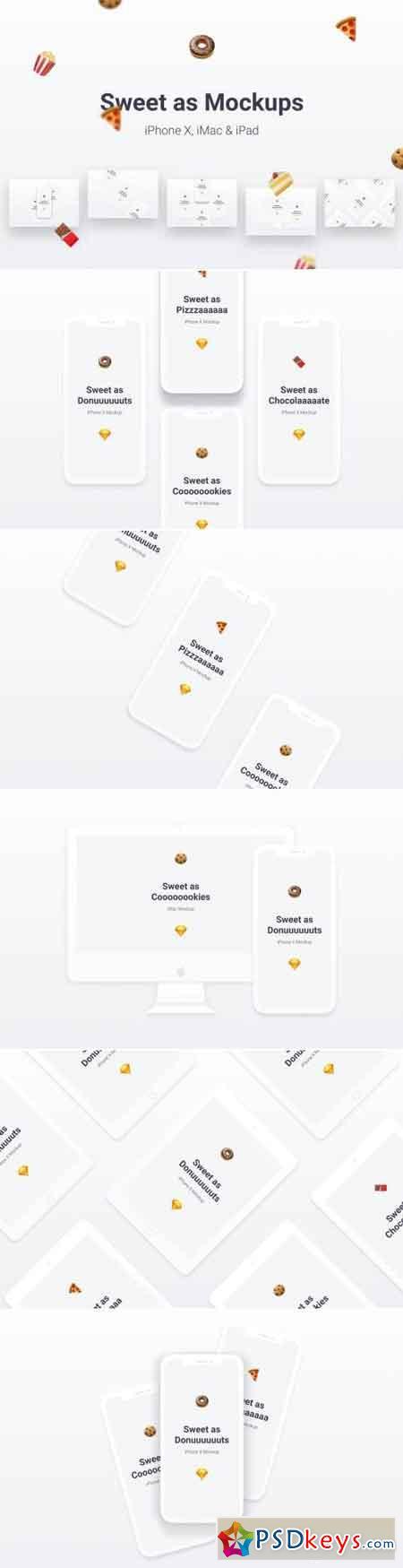 Sweet as Mockups - Apple iPhone X, iMac & iPad Air