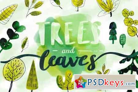 Trees & Leaves - Watercolor Objects