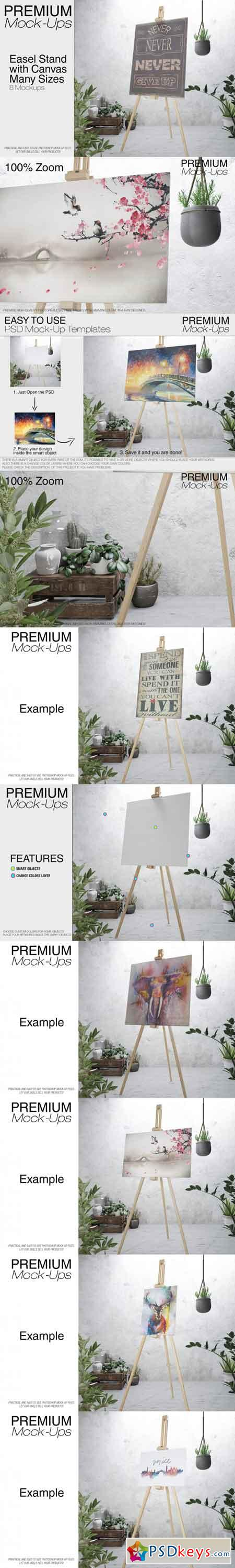 Easel with Canvas - Many Sizes 3453447