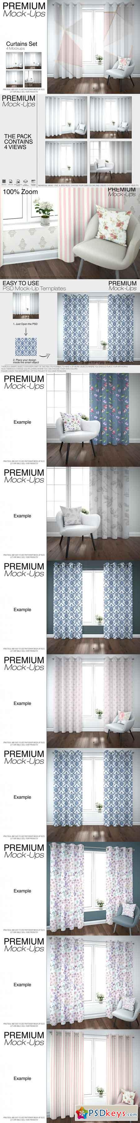 Curtains & Pillow Mockup Pack 3467768