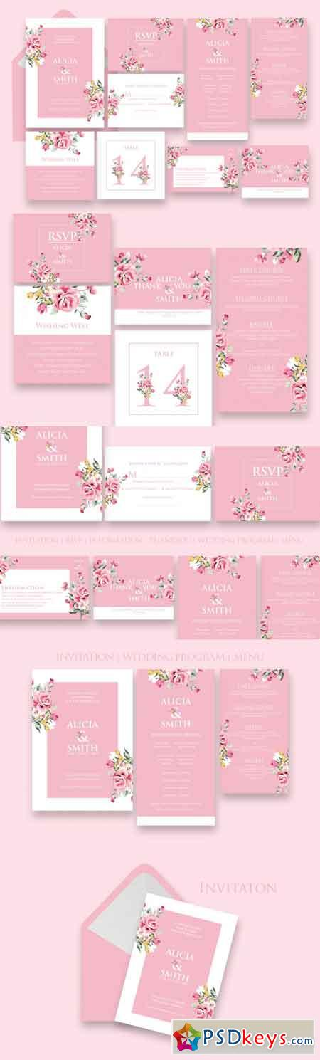 Stylish Wedding Invitation Set Ac.8 3467917