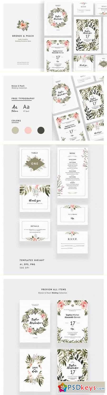 Bronze & Peach Wedding Invitations