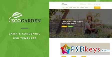 Eco Garden Lawn & Gardening PSD Template 15624190
