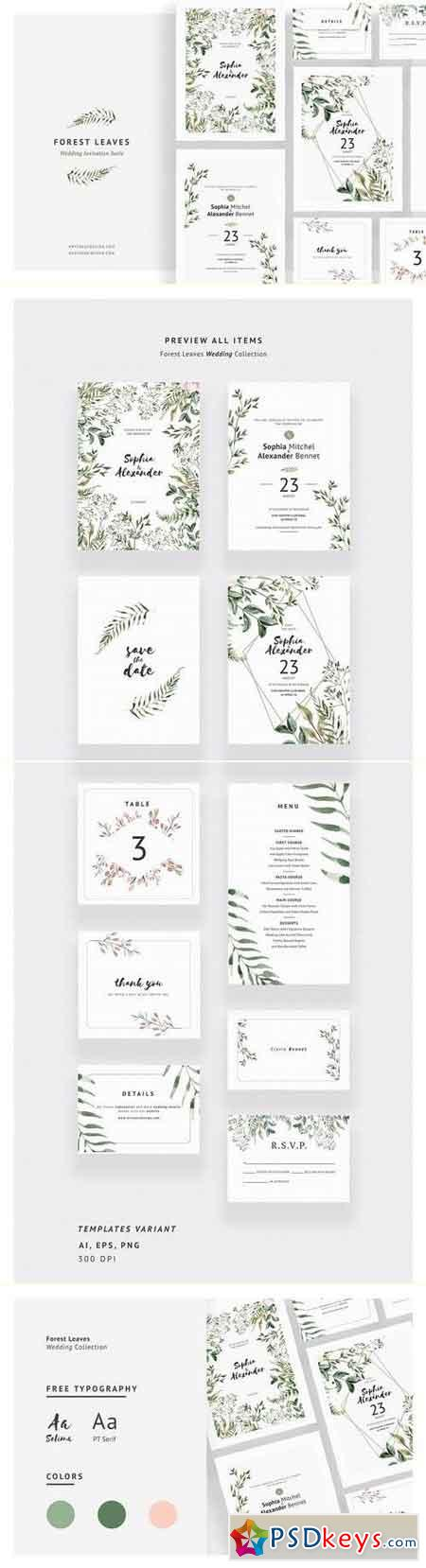 Forest Leaves Wedding Invitations