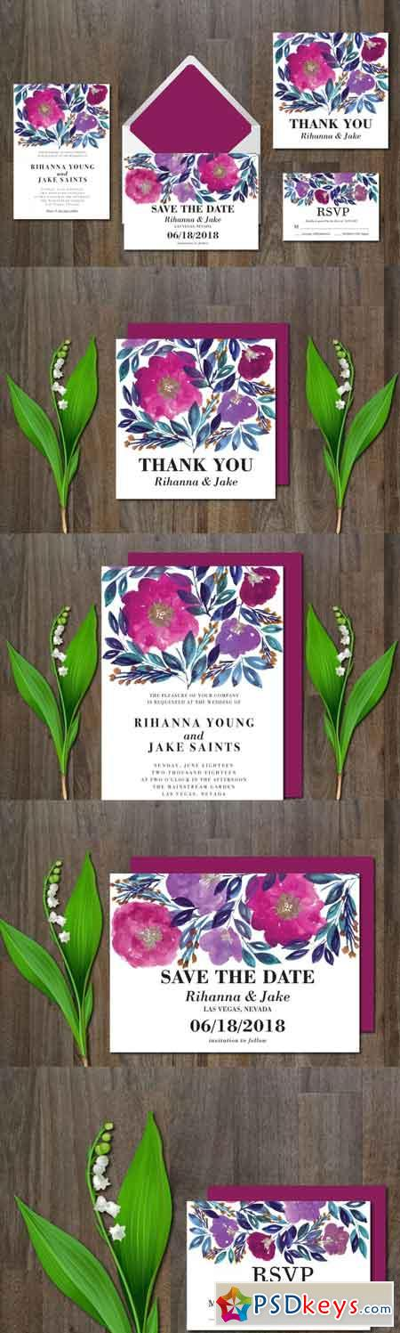 Wedding Invitation Suite Flowers 3468798