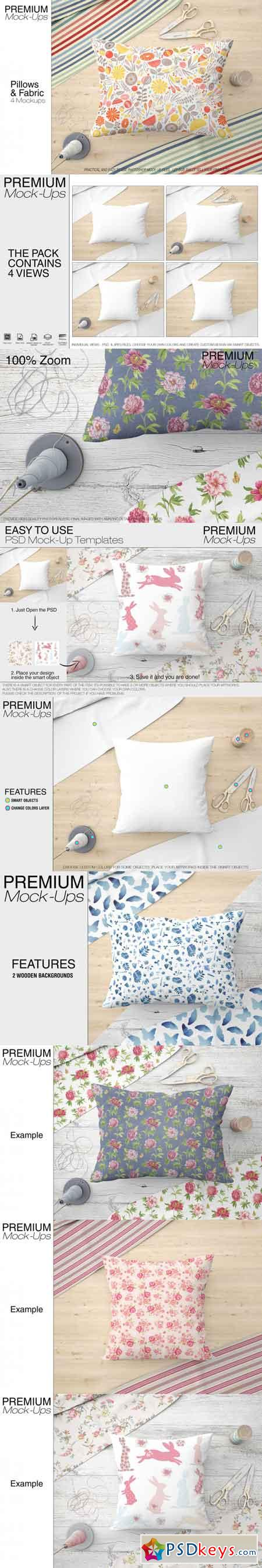 Two Types of Pillows & Fabric Set 3451677