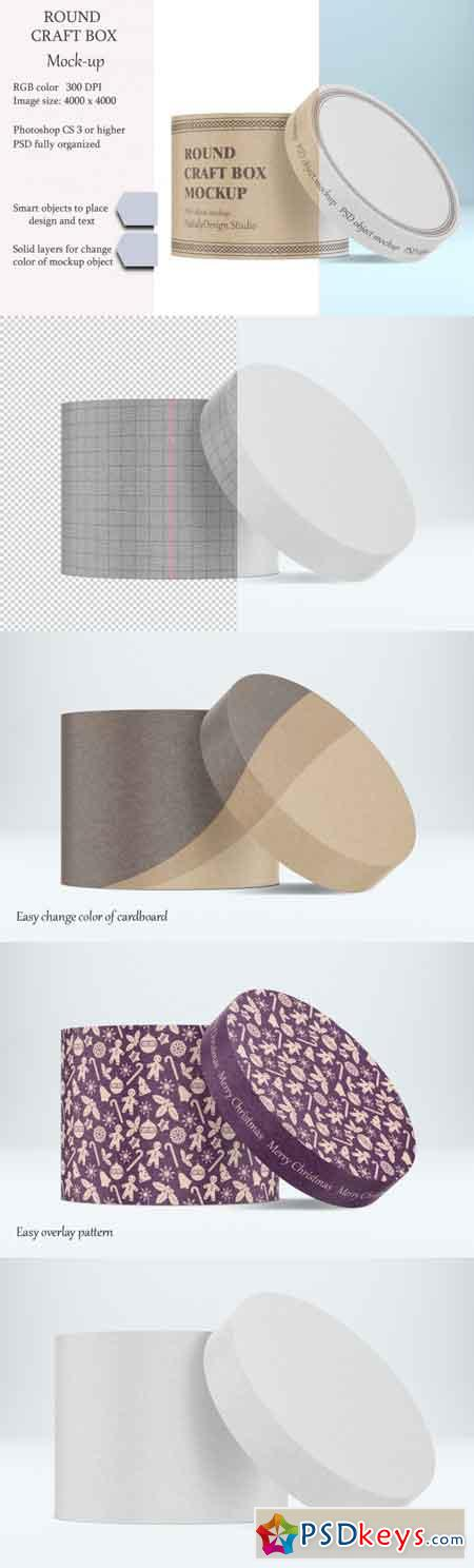 Round craft box mockup Carton box 3451540