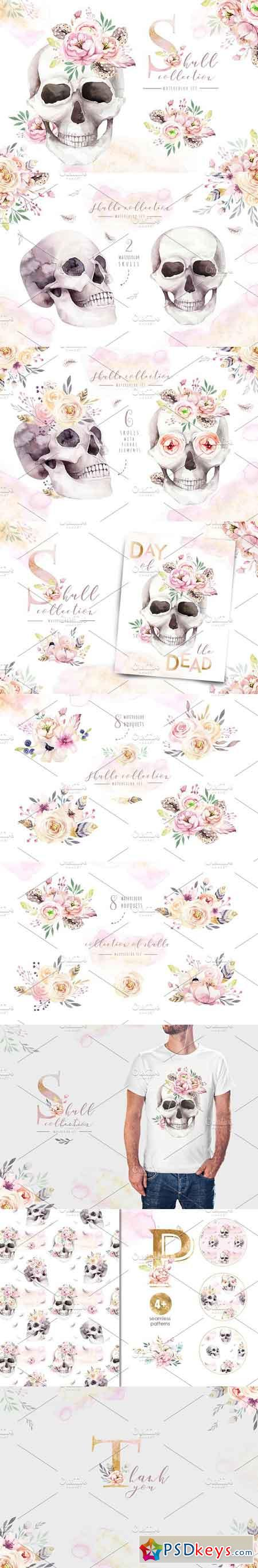 Day of The Dead Watercolor set 2739348