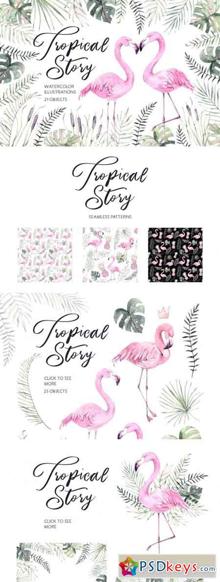 Tropical story Watercolor set 3469206