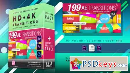 199 Transitions Pack V1.2 4K After Effect Template 8934642