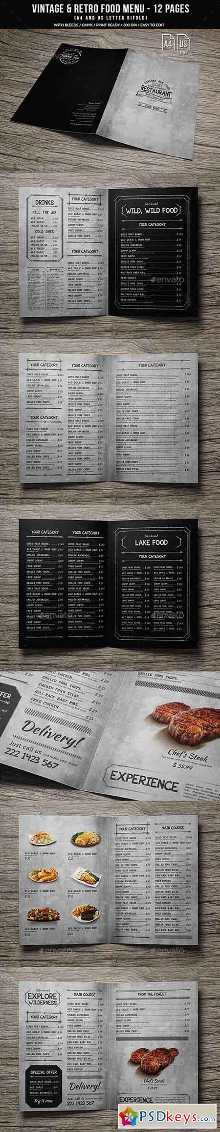 Vintage And Retro Bifold Menu A4 & US Letter - 12 pgs 20709252