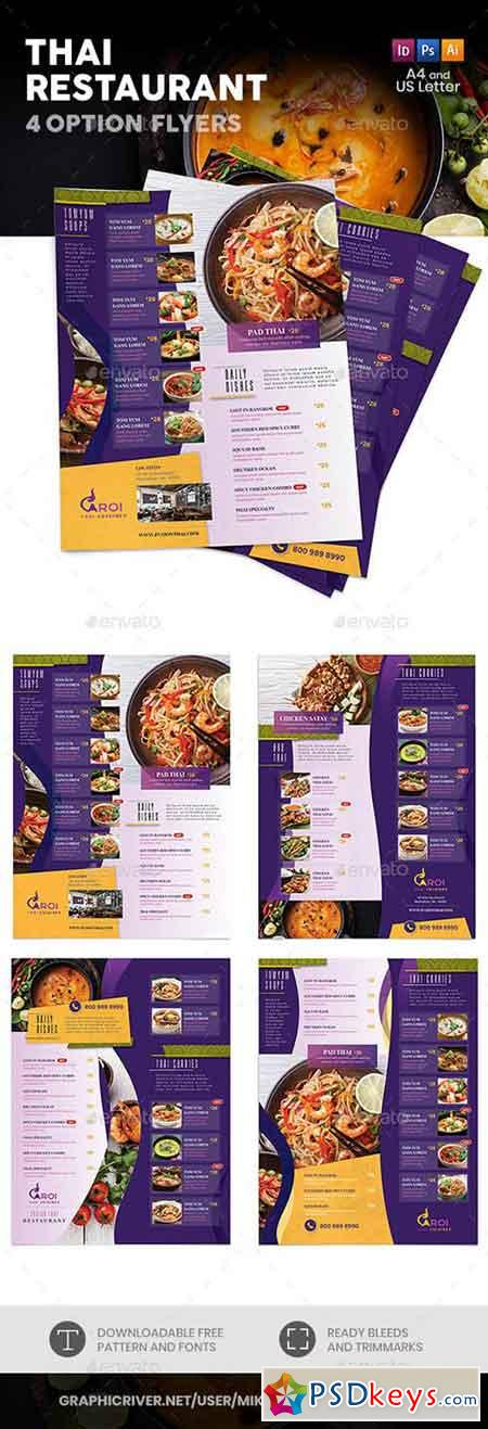 Thai Restaurant Menu Flyers 5 – 4 Options 22218442