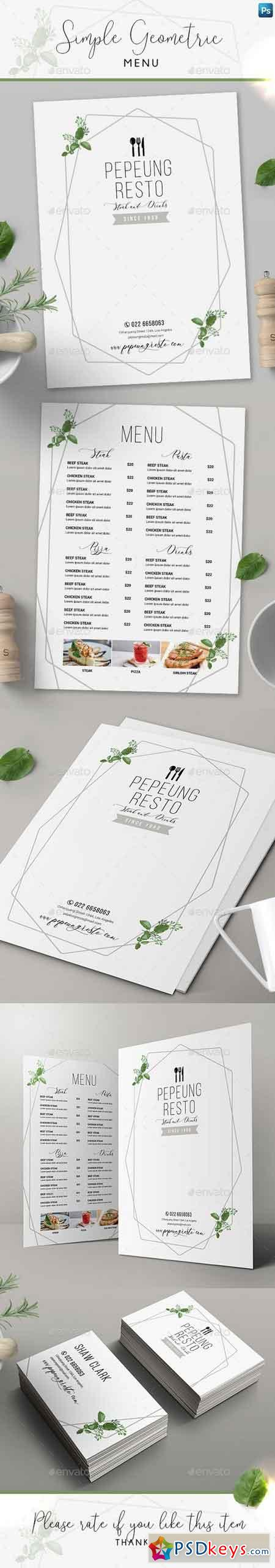 Simple Geometric Menu + Business Card 22277531
