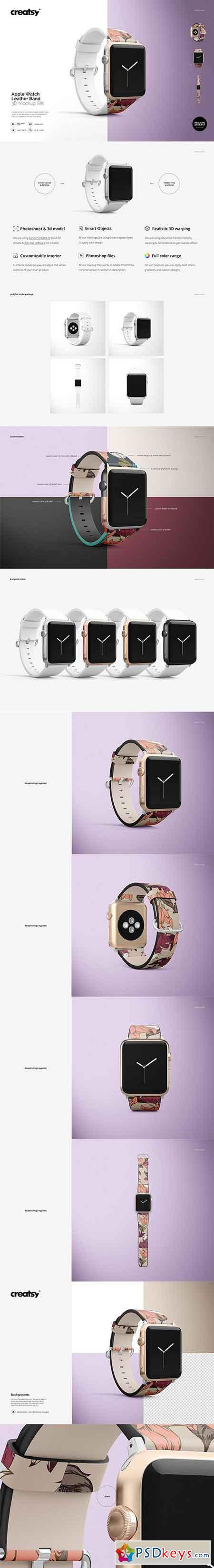 Apple Watch Leather Band Mockup Set 2737923