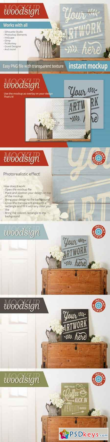 Instant png photorealistic woodsign mockup 3470103